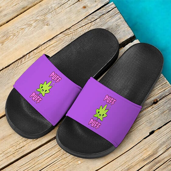 Puff Puff Cute Marijuana Leaf Purple Dope 420 Weed Slide Footwear