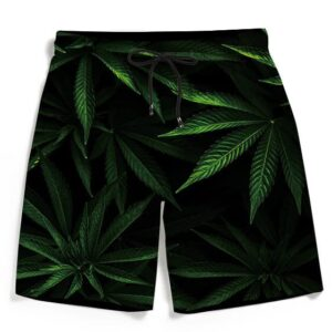 Realistic Mary Jane Weed 420 Kush Leaves Men's Beach Shorts