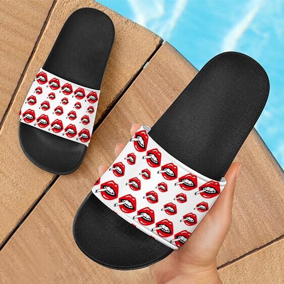 Red Lips Smoking Joint Marijuana Weed Hemp Dope Slide Footwear