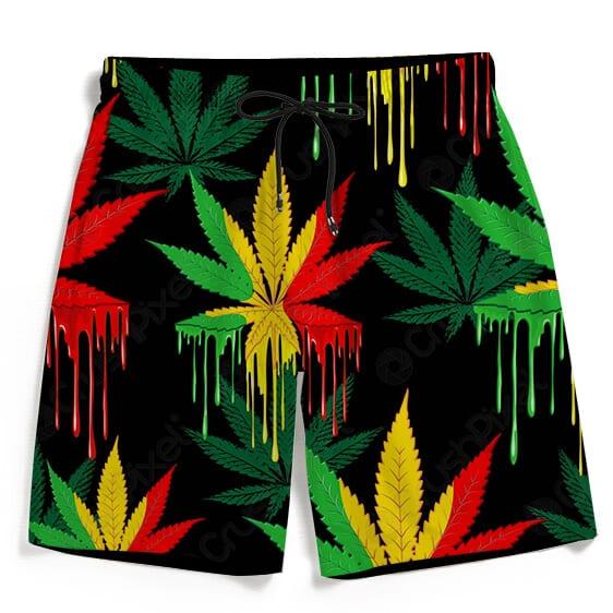 Reggae Colors Marijuana Drip Paint Design Men's Beach Shorts