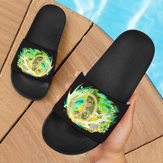 Rock Lee Gates Opened Ninja Blazing Design Slide Sandals