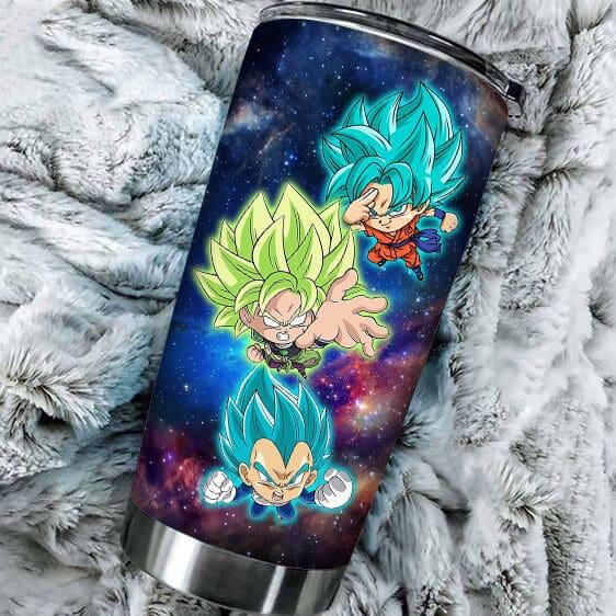SSJ Blue Goku Vegeta And Broly Dragon Ball Super Tumbler
