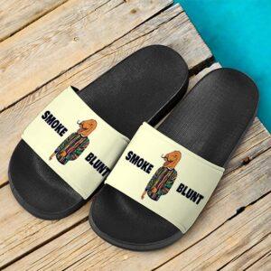 Smoke Blunt Mustache Dinosaur Meme 420 Marijuana Slide Sandals