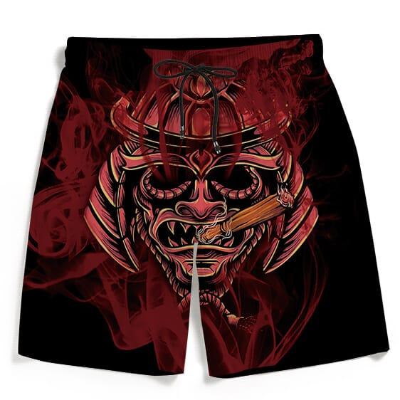 Smoking Samurai Dark Red Japanese Theme Awesome Men's Shorts