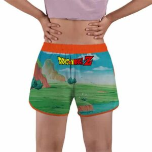 Son Goku And Gohan Rides Nimbus Cloud DBZ Women's Beach Shorts