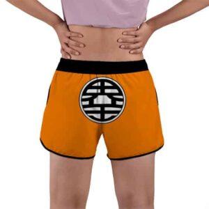 Son Goku And King Kai Kanji DBZ Orange Women's Beach Shorts