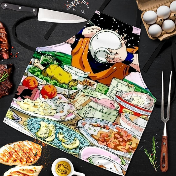 Son Goku Pigging Out Buffet Table Dragon Ball Z Cool Apron