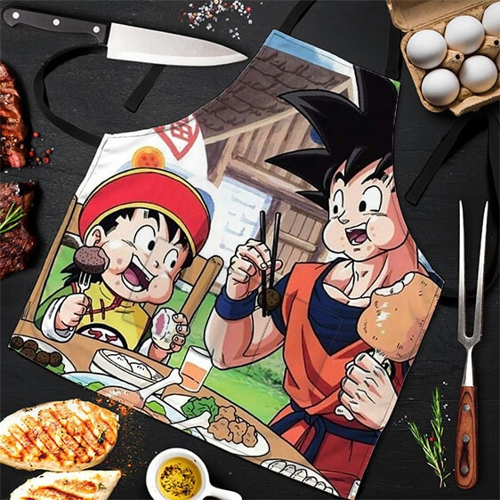 Son Goku and Gohan Eating Out Dragon Ball Z Awesome Apron