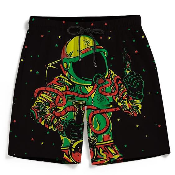 Space Man Astronaut Galaxy Smoking Bong Marijuana Beach Shorts