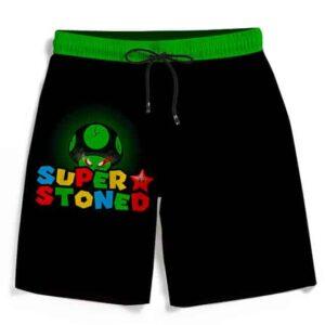 Super Stoned Mushroom Weed Marijuana Mario Black Beach Shorts