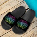 The High Life Colorful Neon Design Marijuana Slide Sandals
