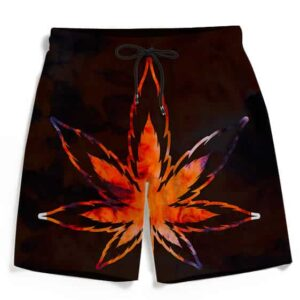 Tie Dye Marijuana Leaf Fire Effect 420 Marijuana Beach Shorts