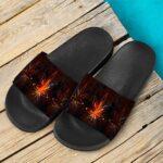 Tie Dye Marijuana Leaf Fire Effect 420 Marijuana Slide Sandals