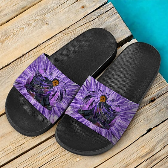 Tobi Masked Man Akatsuki Swirly Purple Art Slide Sandals