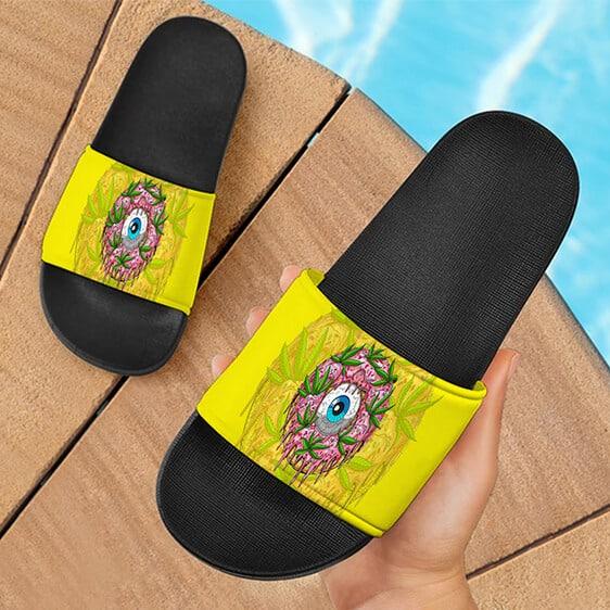 Trippy Eyeball Art 420 Weed Doughnut Yellow Slide Slippers
