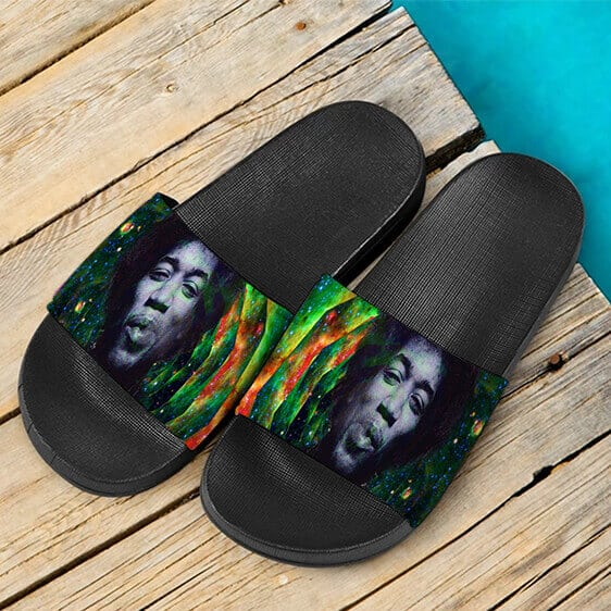 Trippy Galaxy Jimi Hendrix Smoking Joint 420 Slide Sandals