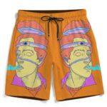 Trippy Guy Smoking Weed Flat Color Art 420 Kush Beach Shorts