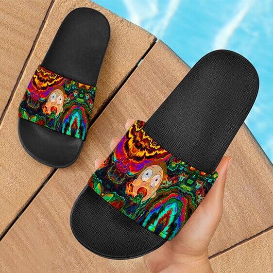 Trippy Psychedelic Morty Weed Art Marijuana 420 Slide Sandals