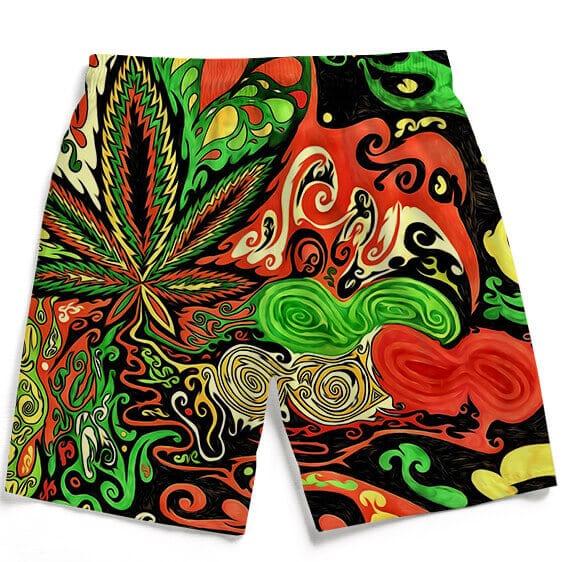 Trippy Reggae Colors 420 Marijuana Leaf Dope Surfer Boardshorts