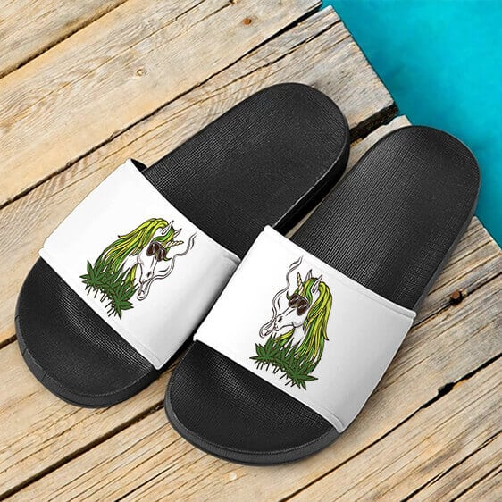 Trippy Unicorn Smoking Joint Awesome Cannabis Slide Sandals