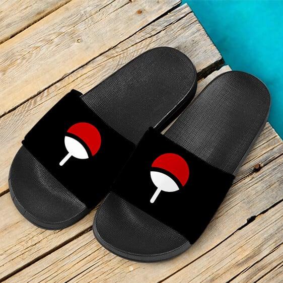 Uchiha Clan Symbol Black Minimalist Amazing Slide Sandals