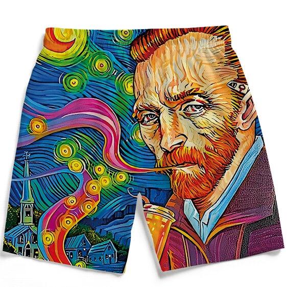 Van Gogh Starry Night Smoking Bong Trippy Men's Beach Shorts