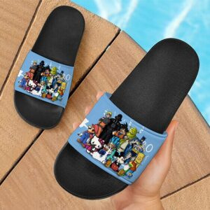 Characters Smoking Weed Together Marijuana Slide Sandals