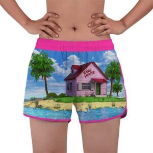 Vibrant Master Roshi Kame House DBZ Women's Beach Shorts