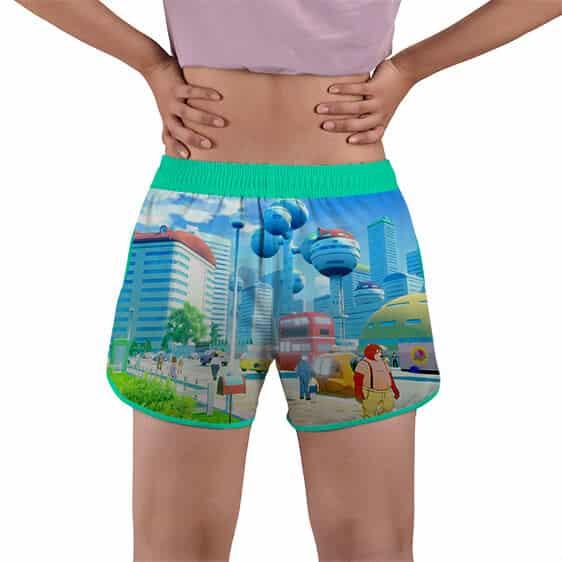 Videl Goten And Trunks DBZ City View Women's Beach Shorts