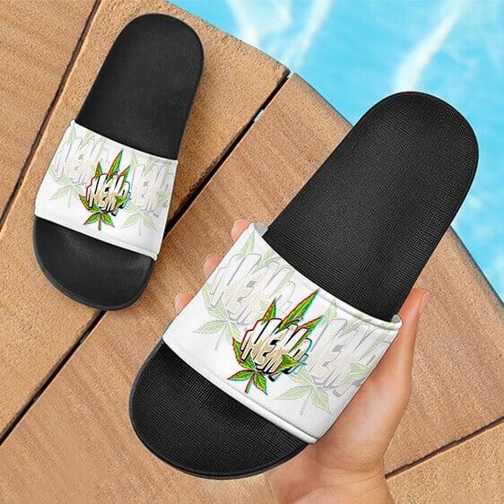 Weed Hemp Graffiti Style Font All White Dope Slide Footwear