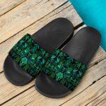 Weed Marijuana All Over Print Cool Dark Green Slide Sandals