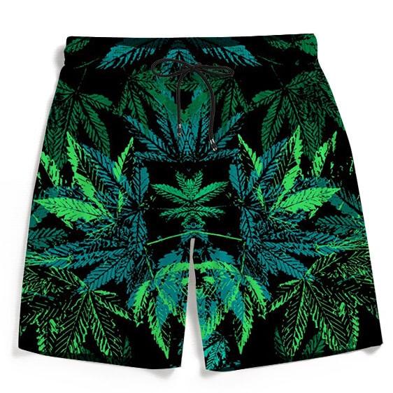 Weed Marijuana 420 Black All Over Print Green Beach Shorts