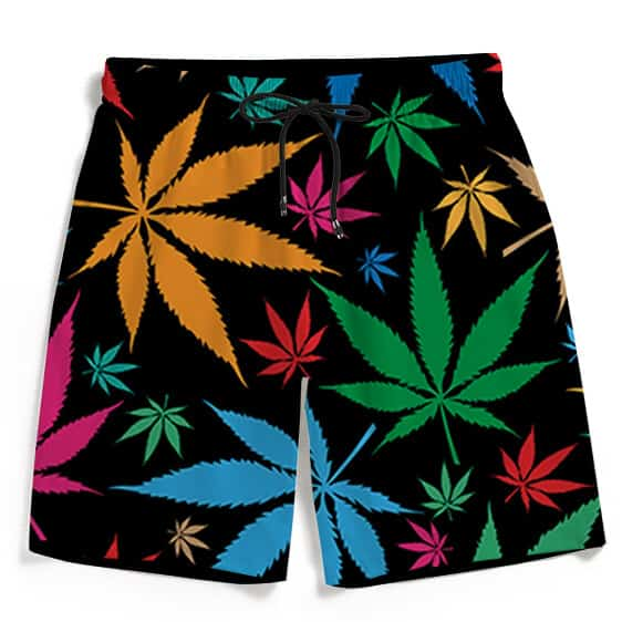 Weed Marijuana Colorful Pattern Dope Men's Beach Shorts
