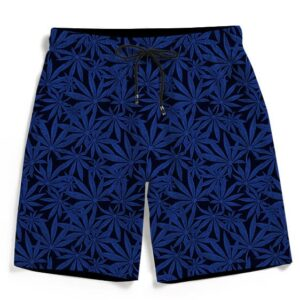 Awesome Weed Marijuana Leaves Pattern Navy Blue Men's Shorts