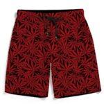 Cool Weed Marijuana Leaves Pattern Red Men's Boardshorts