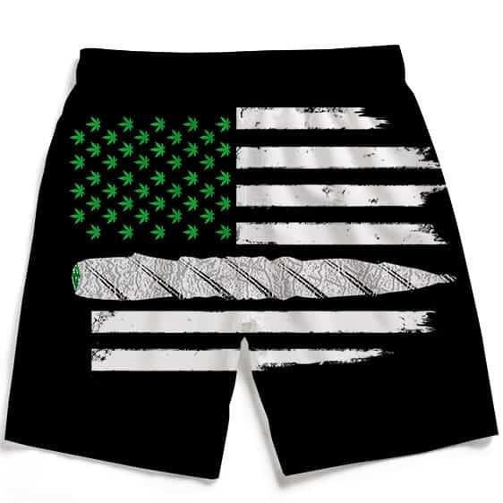 Weed US Flag Joint 420 Marijuana Dope Ganja Dope Beach Shorts