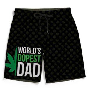 World's Dopest Dad Marijuana Pattern 420 Weed Black Beach Shorts