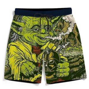 Yoda Smoking Darth Vader Bong Fun Awesome Men's Beach Shorts