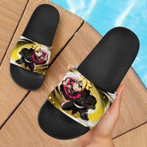 Young Boruto Uzumaki Yellow Artwork Slide Slippers