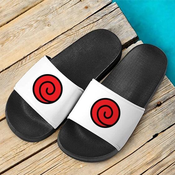 Uzumaki Clan Symbol Dope Cool White Slide Slippers