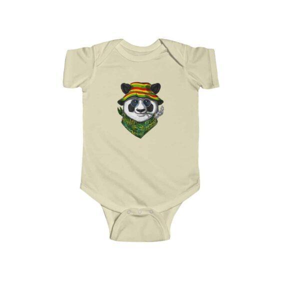 Chill Hippie Panda Smoking Weed Stylish 420 Baby Romper