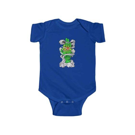 Green Hand Smoking Marijuana Joint Art Sick 420 Baby Clothes