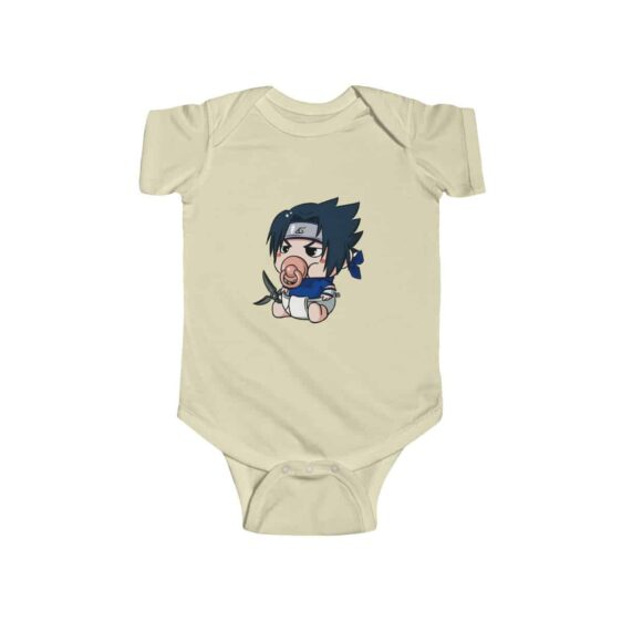 Cute Baby Sasuke With Pacifier Adorable Naruto Infant Onesie
