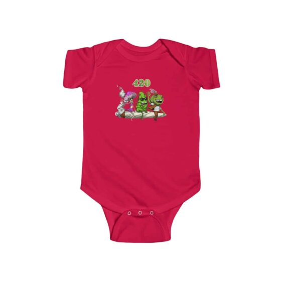 Stoner Weed Bud and Friends Riding On Spliff Cool Baby Onesie