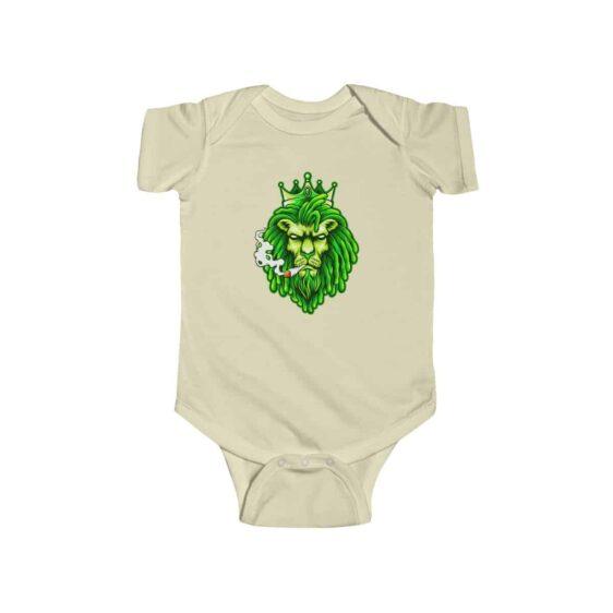 Green Ganja Lion King Smoking Badass 420 Weed Baby Bodysuit