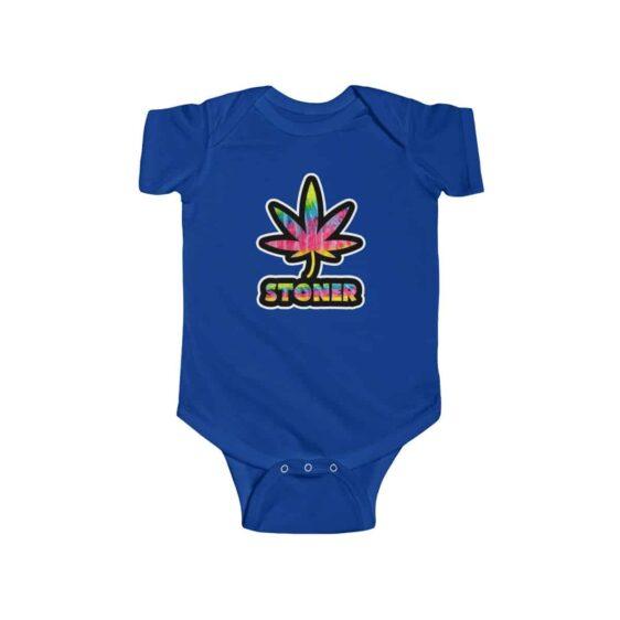 Trippy Psychedelic Stoner Marijuana Leaf 420 Weed Baby Onesie