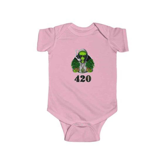 Hippie Alien Holding Cannabis Plant Dope 420 Weed Baby Onesie