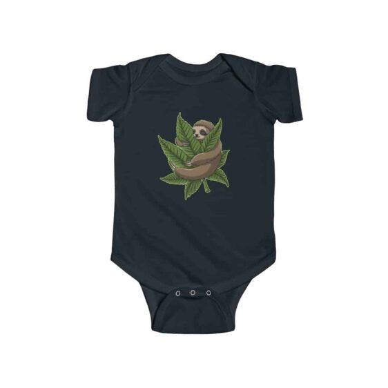 Chill Sloth Hugging Marijuana Leaf Dope 420 Weed Baby Onesie