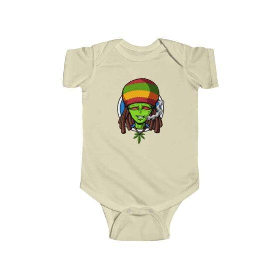 High Rasta Alien Smoking Weed Dope Marijuana Infant Onesie
