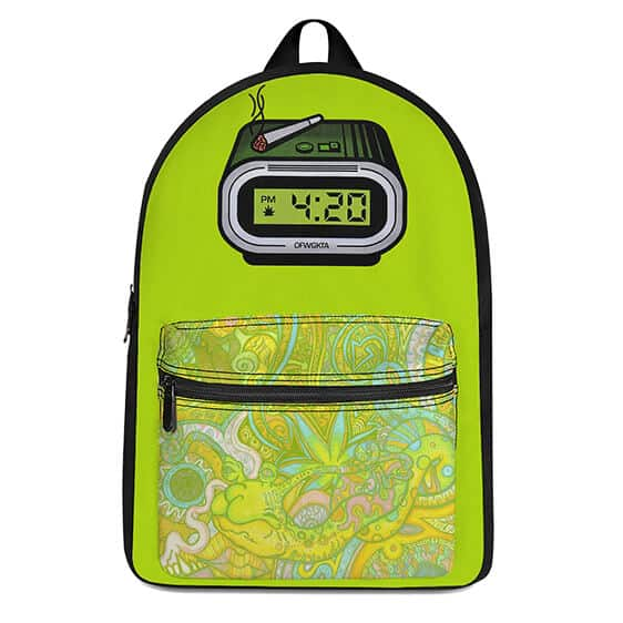 420 Clock with Spliff Trippy Colorful Patterns Cool Backpack